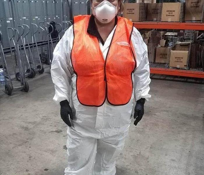 Commercial Cleaning Services, employee in PPE
