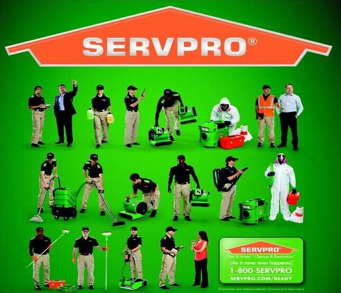 SERVPRO logo with people talking, working, and moving equipment