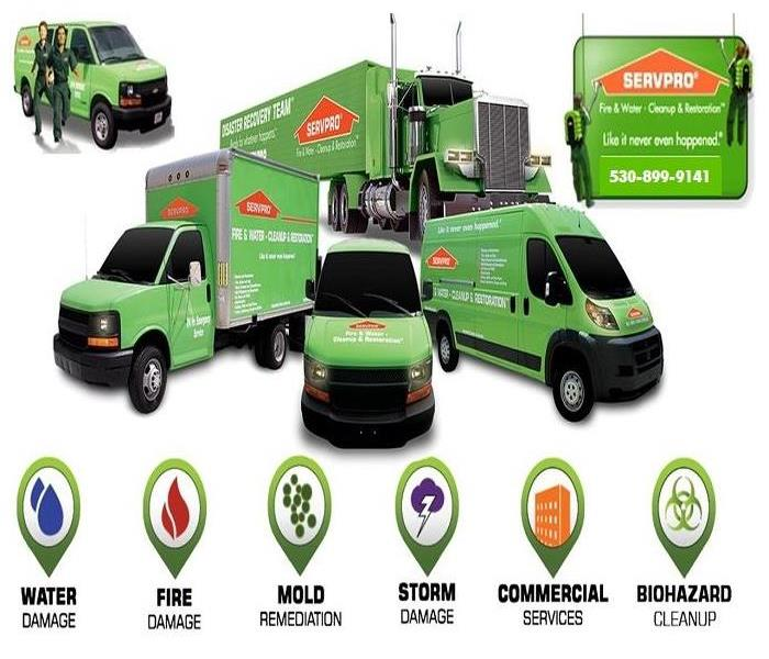 SERVPRO vans and trucks and small logos on bottom