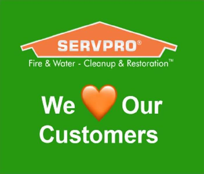 SERVPRO logo with text stating we orange heart emoji our customers