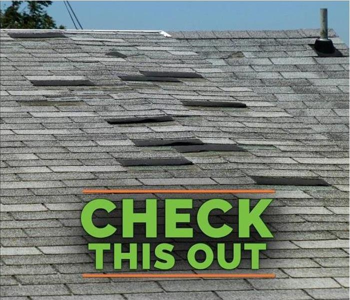Lifted roof shingles with bold text saying Check This Out